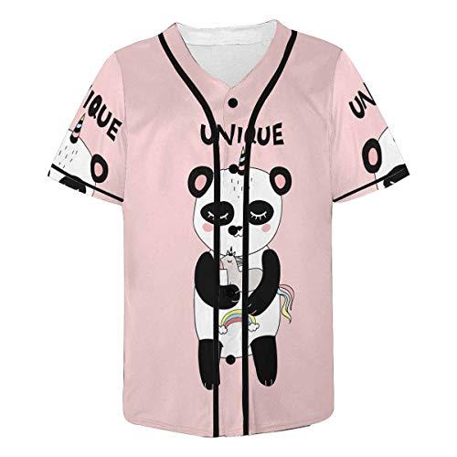 INTERESTPRINT Men's Pretty Happy Smiling Panda with Hn is Hugging Unique Baseball Jersey Button Down T Shirts - Panda Jersey Baseball