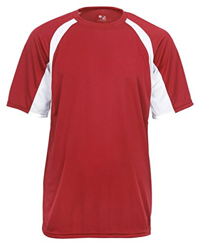 Men's two-tone moisture-wicking cool and dry sport hook tee. (Red / White) (X-Large)