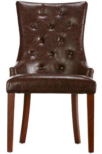 Cheap Rebecca Tufted Accent Chair, 38″HX22″WX27″D, BRWN LTH W BRLP