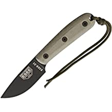 ESEE 3HM Fixed Blade Survival Knife with Black Powder Coated 1095 Steel Blade and Grey Micarta Handle, Leather Sheath