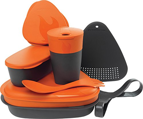 Light My Fire 8-Piece BPA-Free Meal Kit 2.0 with Plate, Bowl, Cup, Cutting Board, Spork and More, Orange ()