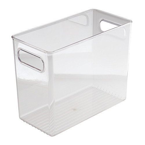 InterDesign Linus Bathroom Vanity Organizer Bin –  Cabinet Storage Box for Health and Beauty Products - Tall, Clear -