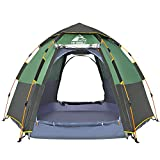 Hewolf Camping Tents 2-4 Person [Instant Tent] Waterproof [Double Layer][Quick Setup] Family Beach Dome Tent UV Protection with Carry Bag (Green, 4-5)