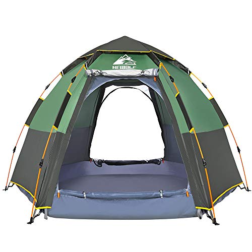 (Hewolf Camping Tents 2-4 Person [Instant Tent] Waterproof [Double Layer][Quick Setup] Family Beach Dome Tent UV Protection with Carry Bag (Green, 4-5))