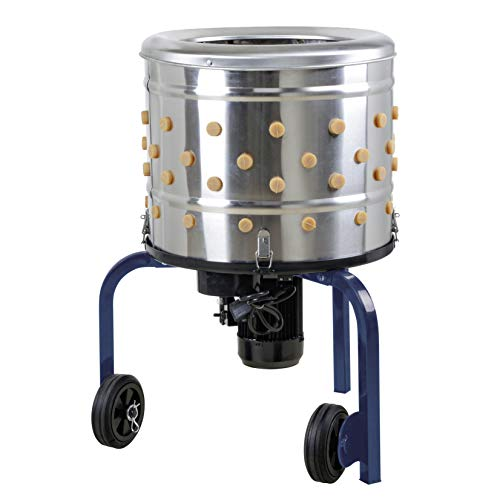 """KITCHENER Chicken Plucker De-Feather Remover Poultry & Fowl Food Processor Stainless Steel Heavy Duty Electric 1.2HP 120VAC 280RPM Planetary Gear Motor GFCI Connector 92 Soft Fingers 20"""" Drum Diameter"""