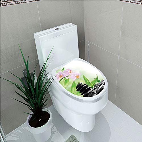 Toilet Cover Decoration,Spa,Zen Basalt Stones and Orchid with Dew Peaceful Nature Theraphy Massage Meditation Decorative,Black Pink Green,3D Printing,W12.6''xH15.7'' by iPrint