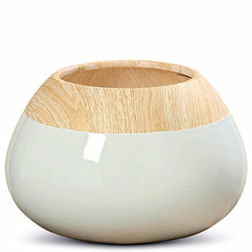 WHW Whole House Worlds Crosby Street Chic Chubby Belly Vase, Hand Painted Wood Grain Pattern Band, Contrasting White Body, Glazed Ceramic, 6 1/4 Inches High