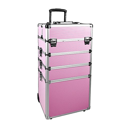Makeup Train Case 4 in 1 Professional Cosmetics Rolling Organizer Aluminum Frame and Folding Trays (10.4×13.4×28.7 In,Pink)