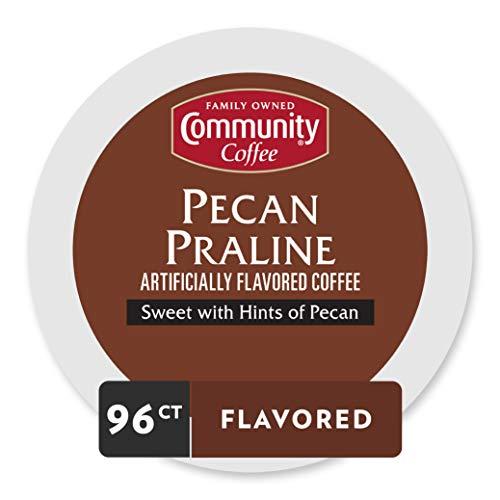 - Community Coffee Pecan Praline Flavored Medium Roast Single Serve 96 Ct (4 Pack of 24 Ct), Compatible with Keurig 2.0 K Cup Brewers, Medium Full Body Sweet Hints of Pecan, 100% Arabica Coffee Beans