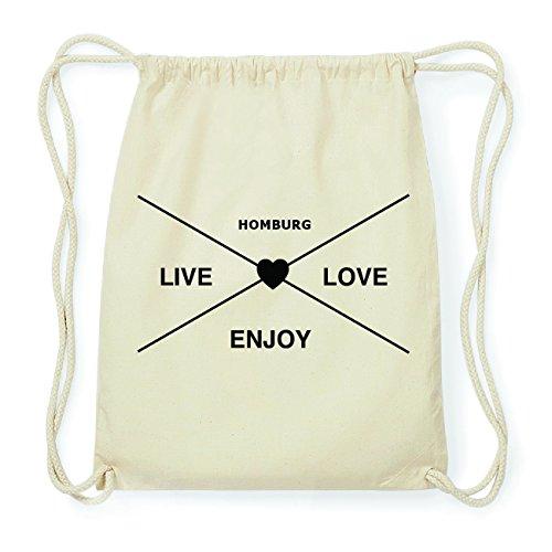 JOllify HOMBURG Hipster Turnbeutel Tasche Rucksack aus Baumwolle - Farbe: natur Design: Hipster Kreuz