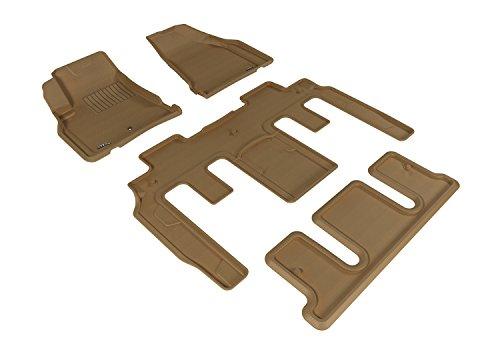(3D MAXpider Complete Set Custom Fit All-Weather Floor Mat for Select GMC Acadia/ Acadia Denali/ Acadia Limited Models - Kagu Rubber (Tan))