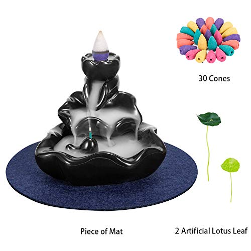 Waterfall Incense Holder,Ceramic Lotus Cone Stick Incense Burner,Backflow Burner Handcraft Gift Home Decor with 30 Free Cones Set