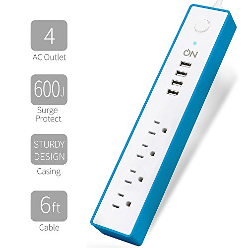 ON Smart Solution Household Power Strip-4 Multi Outlets with 4 USB Ports-15.5W Universal (100V~240V) Charging Station-600J Surge Protector Power Bar-6 Ft UL Cord-Blue Wall Power Conditioner
