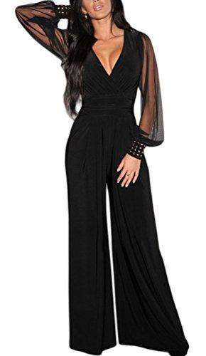 Sisiyer Women's Embellished Cuffs Long Mesh Sleeves Plunge V Neck Jumpsuit Black XX-Large (Black On Black Suit)