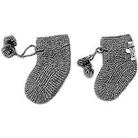 100% Cashmere Baby Bootees Socks, 4 PLY Mongolian Cashmere 26/2 Yarn, Knitted, Newborn 6-18 Months, Grey © Moksha Cashmere