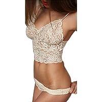 Tenworld Translucent Underwear Set Women Lace Strap Tank Top Briefs White(S-XL)