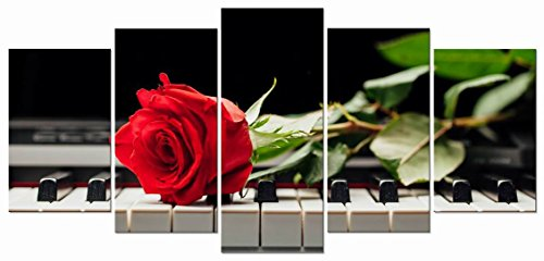 Wieco Art - Red Rose on Piano Modern 5 Panels Stretched and Framed Floral Giclee Canvas Prints Artwork Flowers Music Pictures Paintings on Canvas Wall Art for Bedroom Kitchen Home Decorations