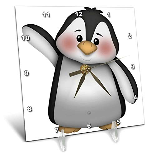 3dRose Cute Black and White Waving Penguin Illustration - Desk Clock, 6 by 6-Inch (dc_217067_1)