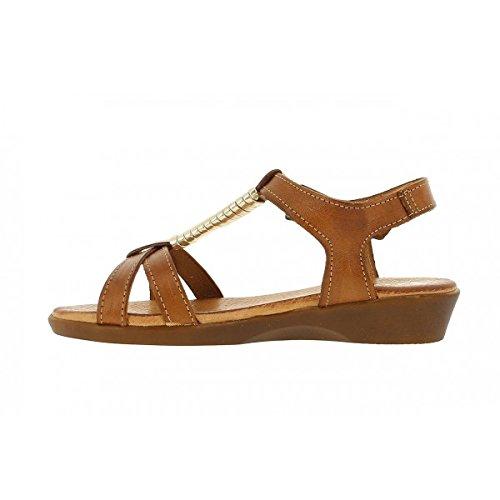 THILTRADING® - Chaussures femme Sandales Marron - XUSANDALIA 1051 - Cuir Semelle en gel