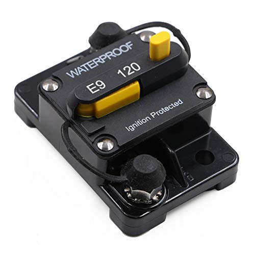 120 Amp Surface-Mount Circuit Breakers with Manual Reset, 12V- 48V DC, Waterproof ()