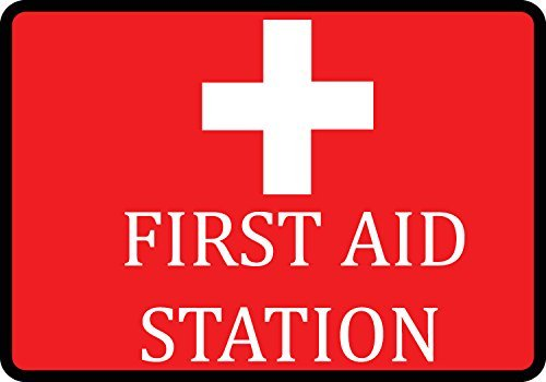 Red First Aid Station Sign - Large Injury Medical Warning 12x8 inch Signs - Aluminum Metal ()