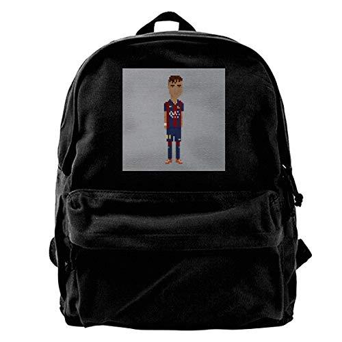 MIJUGGH Canvas Backpack Pixel Neymar Da Silva Santos Junior Rucksack Gym Hiking Laptop Shoulder Bag Daypack for Men ()