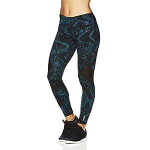 Reebok Women's Legging Full Length Performance Compression Pants- Printed Liquid Stone Deep Teal/Green, X-Small