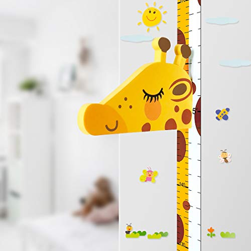 Baby Height Growth Chart Ruler for Children's Room Decoration, 3D Movable Deer Head Height Ruler Nursery Animal Wall Decals ()