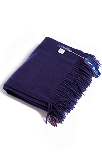 Price comparison product image Fishers Finery - Fringe Throw Blanket - 100% Pure Cashmere - Navy