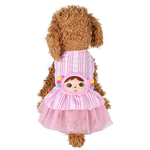 Pet Dress Plaid Printed Doll Patchwork Gauze Layered Adorable Cute Summer Puppy Clothes Apparel (XS, Pink)