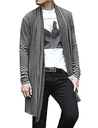 uxcell® Men Shawl Collar High-Low Hem Long Cardigan