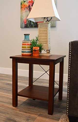 Vibrant Furnishings Solid Wood Rustic End Table - Distressed Finish - Bronze Coast Collection - Living Room Furniture (Bronze Finish Distressed Collection)