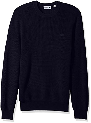 Lacoste Men's Wool Half Cardigan Rib Sweater with Fancy Stitch, Navy Blue, Large by Lacoste