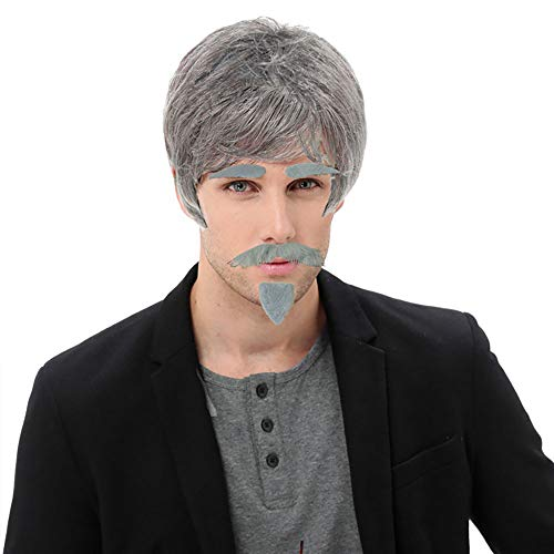 Delphinus Old Man Costume, Grey Wig Old Man Wig Men Wig Grandpa Costume with Moustache and Eyebrow, 4 PCS -