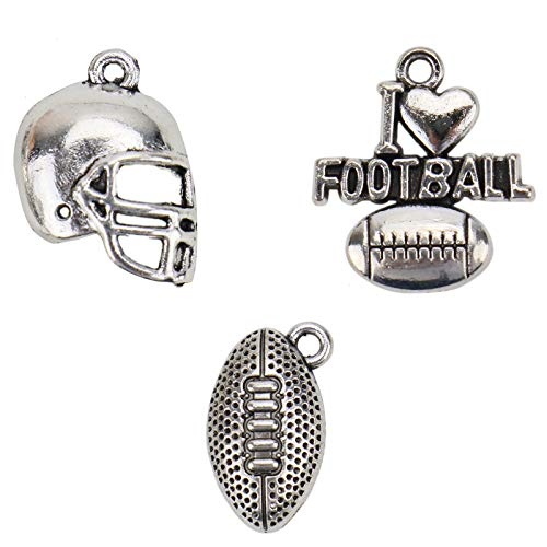 WSSROGY 60 pcs Antique Silver American Football Theme Charms Collection for Crafting DIY Necklace Earrings Bracelet Jewelry Making Accessaries