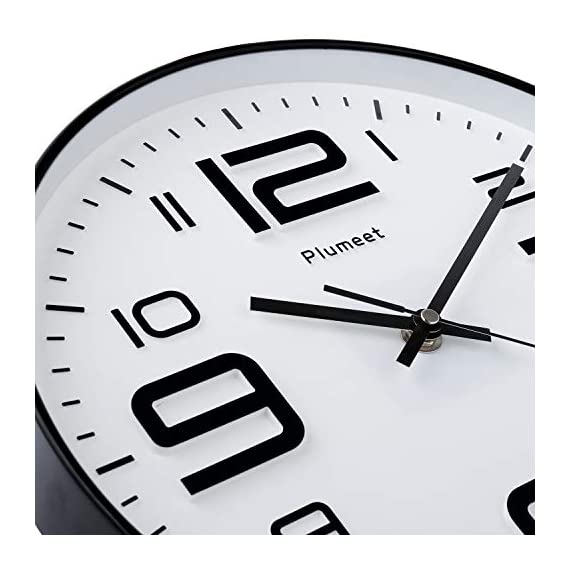 """Plumeet Silent Wall Clocks - 12"""" Non-Ticking Quartz Large Decorative Clocks - Big 3D Number Good for Living Room Home Office Battery Operated (White) - Wall Clock for Bedroom -- Large black numbers bulged out over white dial face, super quiet, easily to see and read 12'' diameter round frame. Eye Catching Numeric -- Four extra large 3D numbers makes it easier to read from any corner of your room. Super Silent -- Precise quartz movements to guarantee accurate time, quiet sweep second hand ensure a good sleeping and work environment. - wall-clocks, living-room-decor, living-room - 41kMhhgRteL. SS570  -"""