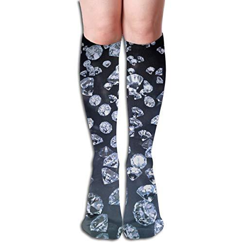 Bandnae 19.68 Inch Compression Socks Diamond Earrings Black High Boots Stockings Long Hose for Yoga Walking for Women Man