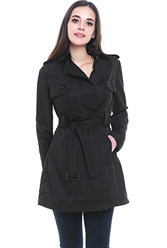 BGSD Women's Gabby Mid Length Trench Coat - Black XS (Black Belted Winter Coat)