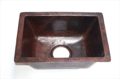 Rectangular Copper Bar Sink, 17 x 12 x 7 Inches, Mendocino, Finish Cafe Viejo