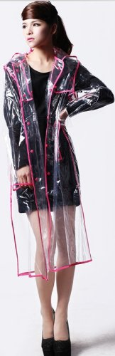City Block Bearcat Transparent with Colorful Edge Fashion Raincoat (Rose - Fashion Mall City