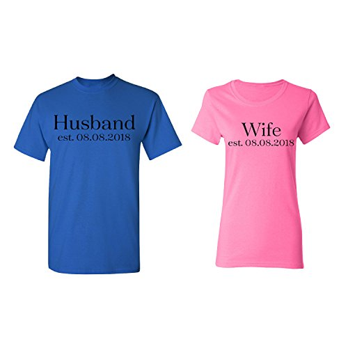 (Husband - Wife Personalized Couple Matching Shirt Set Newly Married Customized Valentines Day Men Royal Blue/Women Pink)