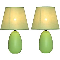 "Simple Designs Home LT2009-GRN-2PK Mini Oval Egg Ceramic Table Lamp 2 Pack Set, 5.51"" x 5.51"" x 9.45"", Green"