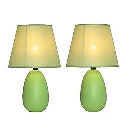 Simple Designs Home Lt2009 Grn 2pk Mini Oval Egg Ceramic Table Lamp 2 Pack Set 5 51 X 5 51 X 9 45 Green