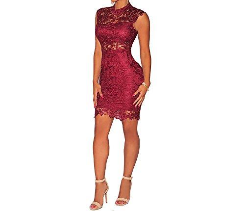Vestidos De Mujer Ropa De Moda para Fiesta y Noche Elegante Casuales Encaje Rojos (L) VE009 Red