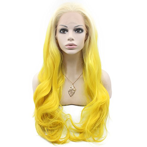 Mxangel Long Wavy Synthetic Lace Front Blond Yellow Ombre Wi