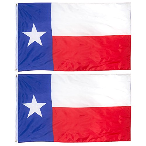 (Juvale 2-Piece Texas State Flags - Outdoor 3x5 Feet Texas Flags, TX Flag Banners, Double Stitched Polyester Flags Brass Grommets, Decorations Parties Festivals, 3 x 5 Feet)