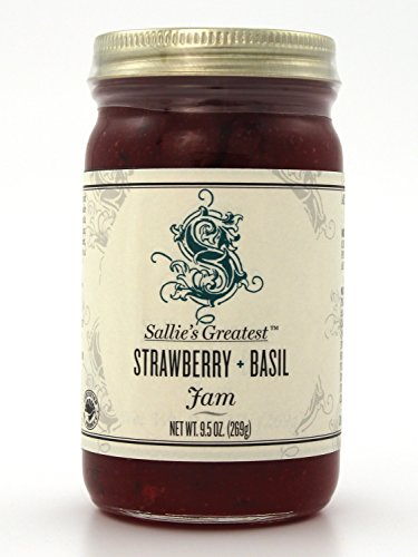 Herbal Strawberry Basil Jam 9.5oz Sallie's Greatest All Natural Fresh Real Fruits and Herbs | Gluten Free Non-GMO Toppings Dessert Fillings | American Breakfast Essentials (9.5 oz, Strbrry - Block Stonewalls