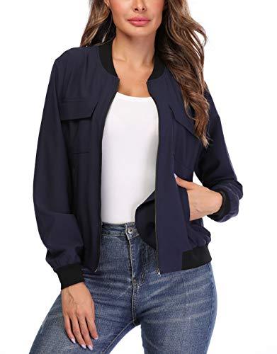 Anienaya Women's Lightweight Jackets Zip Up Coat Rib Collar Multi-Pockets Windbreaker Bomber Jacket Outwear Navy Blue
