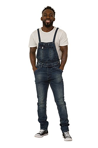 Mens Bib-Overalls with Detachable Bib Stonewash Denim Bib Dungarees Narrow Leg