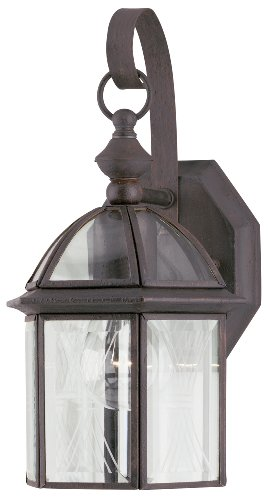 Westinghouse Lighting 6985600 One-Light Exterior Wall Lantern, Textured Rust Patina Finish on Solid Brass and Steel